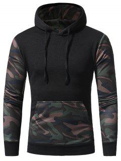 Hooded Camouflage Panel Fleece Pullover Hoodie - Black L
