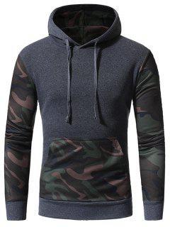 Hooded Camouflage Panel Fleece Pullover Hoodie - Deep Gray L