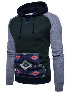 Raglan Sleeve Tribal Print Fleece Pullover Hoodie - Green M