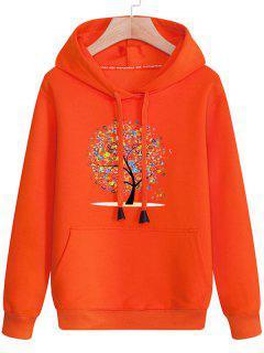 Kangaroo Pocket Tree Print Drawstring Hoodie - Jacinth 3xl