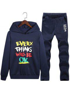Graphic Print Hoodie And Sweatpants Twinset - Deep Blue 3xl