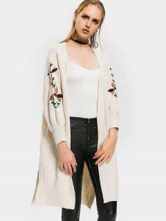 Collarless Embroidered Drop Shoulder Cardigan - Off-white