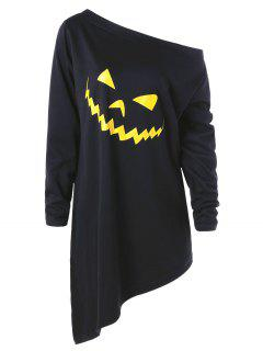 Halloween Plus Size Asymmetric Graphic Pullover Sweatshirt - Black Xl