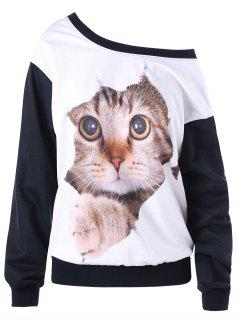Skew Neck Color Block 3D Cat Print Sweatshirt - White And Black M