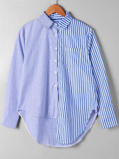 Patch Pocket Striped Asymmetrical Shirt - Blue Stripe Xl