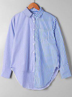 Patch Pocket Striped Asymmetrical Shirt - Blue Stripe S