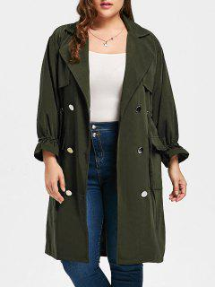 Plus Size Drawstring Waist Slit Trench Coat - Army Green 5xl
