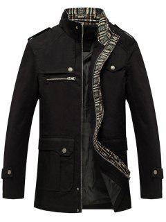 Zip Up Epaulet Design Flap Pocket Jacket - Black 3xl
