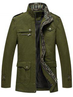 Zip Up Epaulet Design Flap Pocket Jacket - Army Green Xl