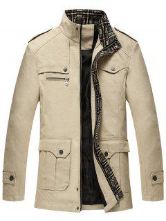Zip Up Epaulet Design Flap Pocket Jacket - Beige Xl
