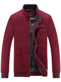 Mandarin Collar Zip Up Casual Jacket - Claret L