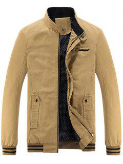 Mandarin Collar Zip Up Casual Jacket - Khaki L