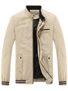 Mandarin Collar Zip Up Casual Jacket - Off-white L