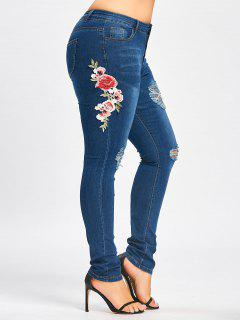 Plus Size Embroidered Destroyed Jeans - Blue