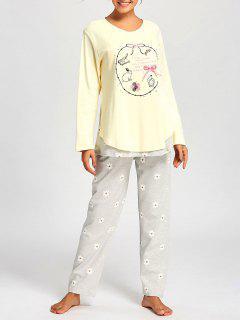 Nursing Cotton T-shirt With Floral PJ Pants - Light Yellow Xl