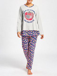 Camiseta De Pijamas De Enfermería Con Pantalones De Flores - Gris Claro Xl