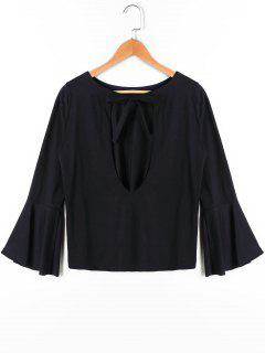 Bow Tie Flare Sleeve Blouse - Black Xl