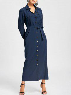 Button Down Pocket Maxi Shirt Dress - Purplish Blue M