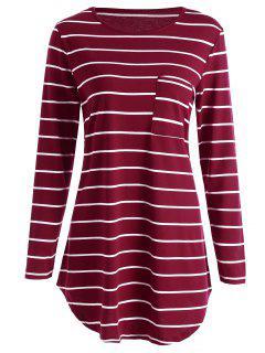 Pocket Striped Tunika Mini T-Shirt Kleid - Rot L