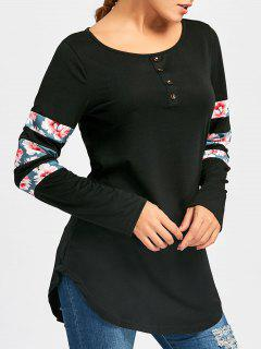 Buttons Floral Insert Long Sleeve Tunic Tee - Black 2xl