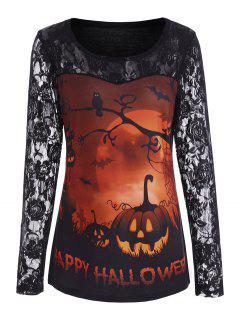 Pumpkin Happy Halloween Lace Sleeve Top - Orange M