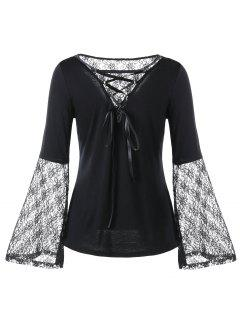 Lace Panel Flare Sleeve Lace Up Blouse - Black 2xl