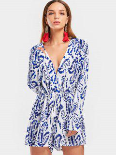 Cut Out Plunging Neck Tiny Floral Romper - Floral M