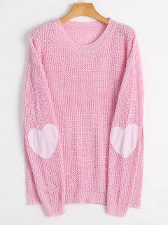 Heart Elbow Patch Pullover Sweater - Light Pink L