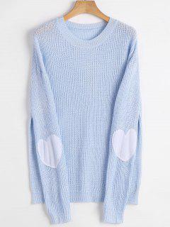Heart Elbow Patch Pullover Sweater - Cloudy Xl