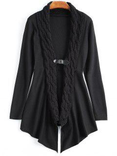 Cable Knit Asymmetric Shawl Cardigan - Black Xl