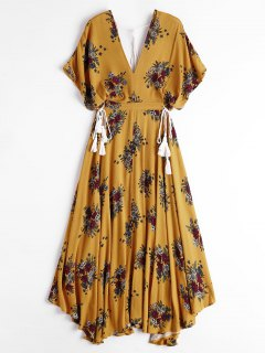 Batwing Floral Cut Out Midi Dress - Yellow Xl