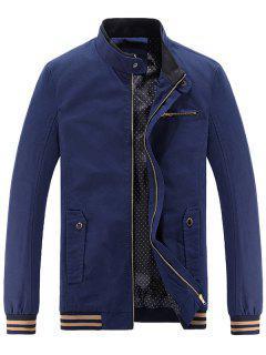 Mandarin Collar Zip Up Casual Jacket - Deep Blue 4xl
