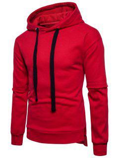 Side Slit Drop Shoulder Fleece Pullover Hoodie - Red L