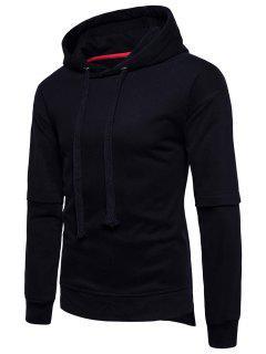 Side Slit Drop Shoulder Fleece Pullover Hoodie - Black L
