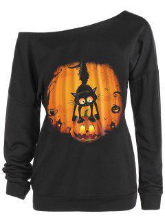 Skew Neck Halloween Pumpkin Cat Print Sweatshirt - Black L