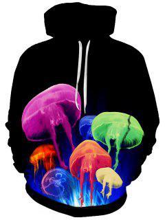 Hooded Colorful 3D Jellyfish Print Hoodie - Black L