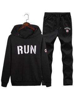 Run Print Hoodie And Sweatpants Sport Suit - Black 3xl