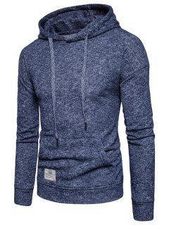 Knitted Drop Shoulder Drawstring Pullover Hoodie - Cadetblue L