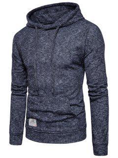 Knitted Drop Shoulder Drawstring Pullover Hoodie - Black L