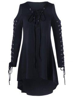 Vestido De Encaje Hasta El Hombro Frío Más El Tamaño - Negro 5xl