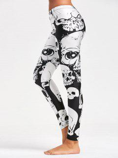 Halloween Skull Pattern Workout Leggings - Black S