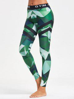 Triangle Pattern Yoga Leggings - Green Xl