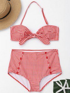 Buttons Plaid Front Tied High Waisted Bikini - Red And White M