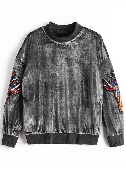 Samt Sweatshirt mit Mock Neck und Applikation - Grau S Mobile