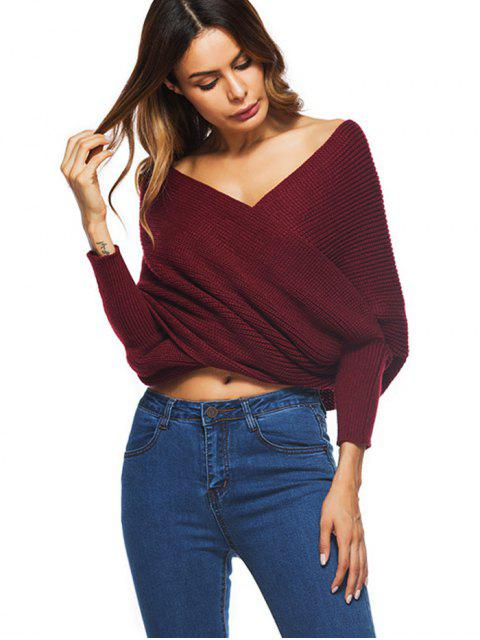 sale Crossed Front Chunky Wrap Sweater - WINE RED ONE SIZE Mobile