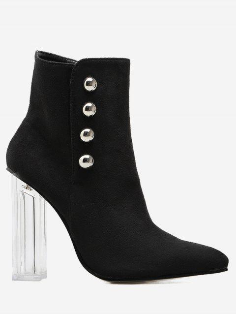new Chunky Heel Transparent Stud Ankle Boots - BLACK 38 Mobile