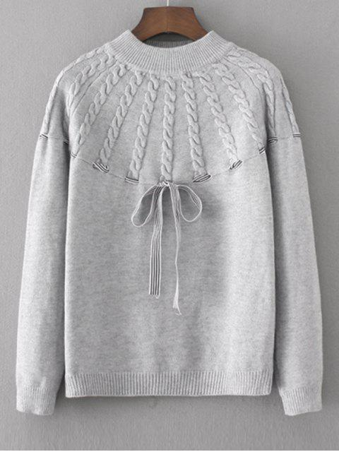 Bowknot Cable Knit Panel Sweater - Gris Talla única Mobile