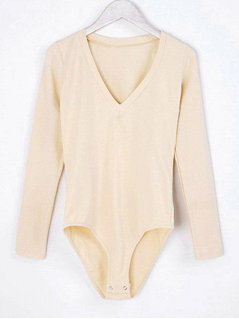 shop V Neck Skinny Long Sleeve Bodysuit - APRICOT M Mobile