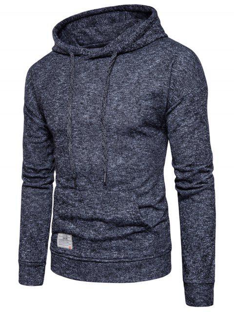 buy Knitted Drop Shoulder Drawstring Pullover Hoodie - BLACK M Mobile