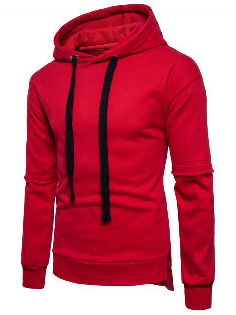 womens Side Slit Drop Shoulder Fleece Pullover Hoodie - RED M Mobile